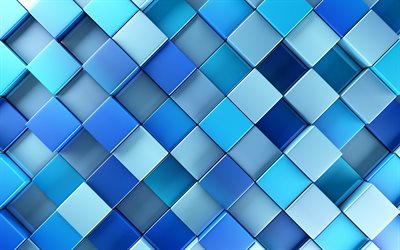 blue mosaic, 4k, artwork, mosaic texture, blue background, abstract textures, square texture, rhombuses