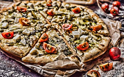 pizza with mushrooms and tomatoes, 4k, HDR, fastfood, italian food, pizza