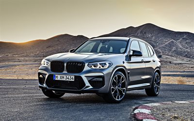 BMW X3 M Competition, 2020, front view, exterior, new gray X3, German SUVs, new German cars, BMW