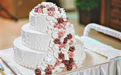 wedding cake, 4k, three-tiered cake, wedding concepts, cakes, sweets, wedding cake with roses