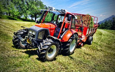 Lindner Geotrac 74, HDR, picking grass, 2013 tractors, red tractor, agricultural machinery, agriculture, Lindner