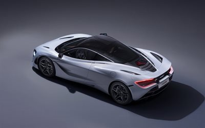 McLaren 720S, 2018, White 720S, top view, supercar, McLaren
