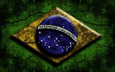 Flag of Brazil, 3d, grunge, South America, Brazil, Brazilian flag