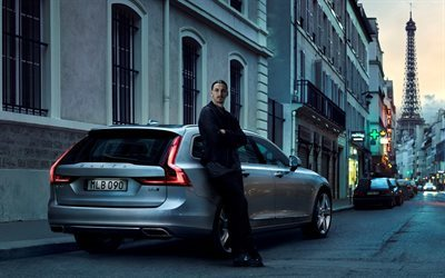 Zlatan Ibrahimovic, Volvo, V90, Silver V90, wagon, Swedish football player, Swedish cars