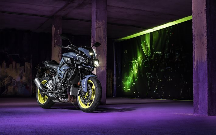 Yamaha MT-10 SP, night, 2017 bikes, superbikes, parking, sportbikes, Yamaha
