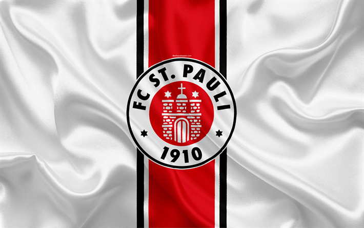 Download Wallpapers St Pauli FC, 4k, White Silk Flag