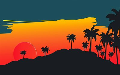 4k, sunset, silhouettes of palms, bright sun, mountains, creative