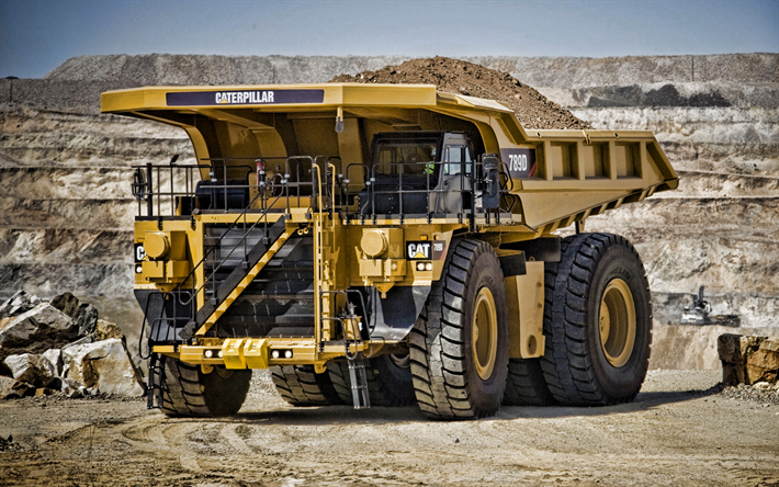 Caterpillar 789D, 4k, mining truck, 2019 trucks, opencast, quarry, Cat 789D, big truck, Caterpillar, trucks, HDR