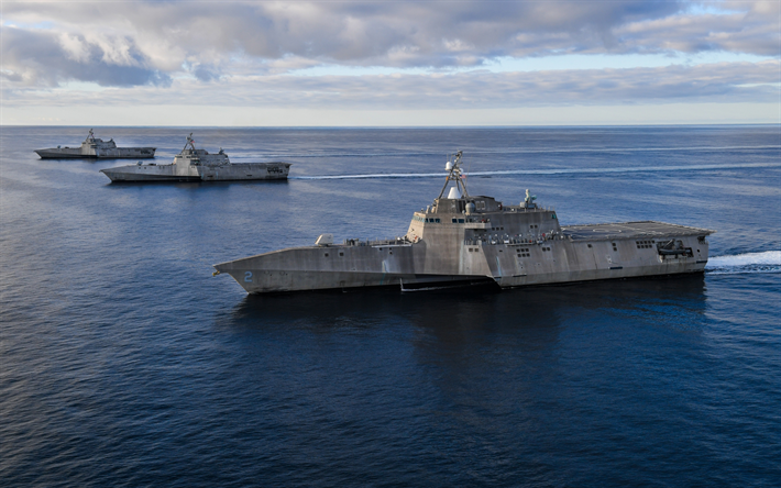 USS Independence, LCS-2, littoral combat ships, Independence-class, USS Manchester, LCS-14, USS Tulsa, LCS-16, ocean, American warships, US Navy