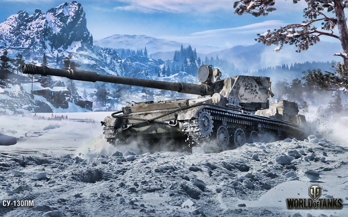 SU-130PM, WoT, artwork, winter battlefield, World of Tanks, soviet tanks