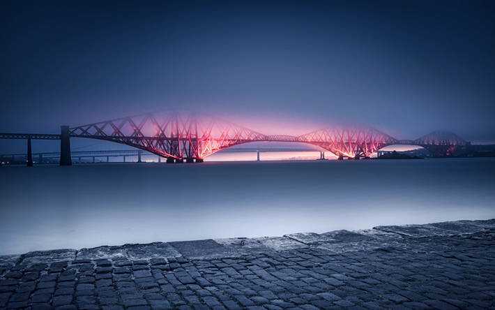 Forth Bridge, 4k, night, fog, railway bridge, Scotland, United Kingdom
