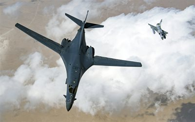 Rockwell B-1 Lancer, American supersonic strategic bomber, Dassault Mirage 2000, US Air Force, combat aircraft, military aircraft