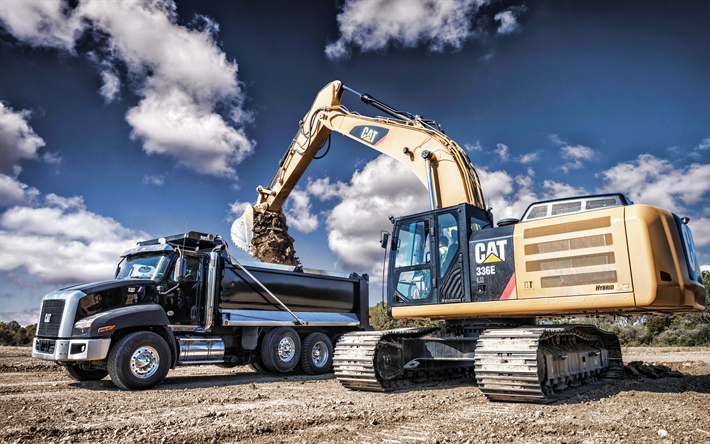 Caterpillar Radlader 988K, Caterpillar Hybridbagger 336E H, excavator, quarry, construction equipment, trucks, HDR, excavator work