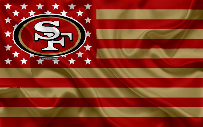 Download Wallpapers San Francisco 49ers American Football Team Creative American Flag Red Gold Flag Nfl San Francisco California Usa Logo Emblem Silk Flag National Football League American Football For Desktop Free Pictures