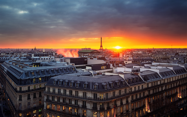 Paris, city panorama, France, capital, sunset, evening, Eiffel Tower