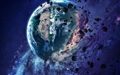 Explosion of Earth, Apocalypse, destruction of planets, galaxy, stars, explosion of planet, sci-fi, universe, planets, Earth, asteroids