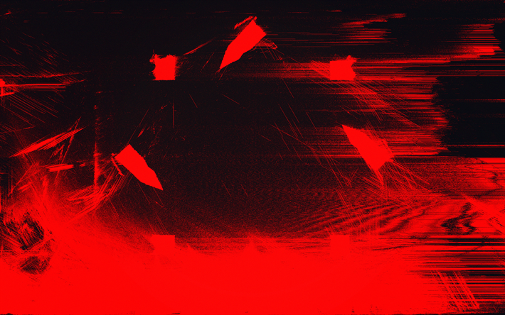 Download Wallpapers 4k Red Glitch Texture Grunge Art Red