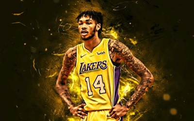Brandon Ingram, close-up, de la NBA, Los Lakers de Los Angeles, de color amarillo uniforme, Brandon Xavier Ingram, baloncesto, luces de neón, las estrellas del baloncesto, LA Lakers, el arte abstracto, creativo, Brandon Ingram Lakers