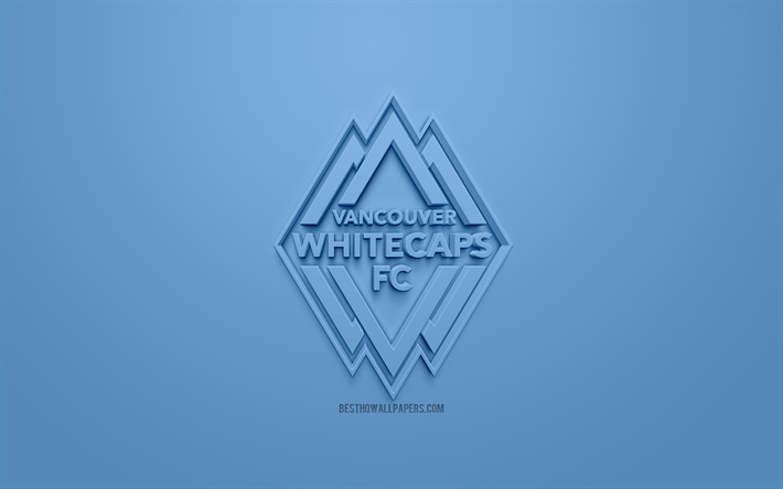 Vancouver Whitecaps FC, creative 3D logo, blue background, 3d emblem, Canadian football club, MLS, Vancouver, British Columbia, Canada USA, Major League Soccer, 3d art, football, stylish 3d logo, soccer