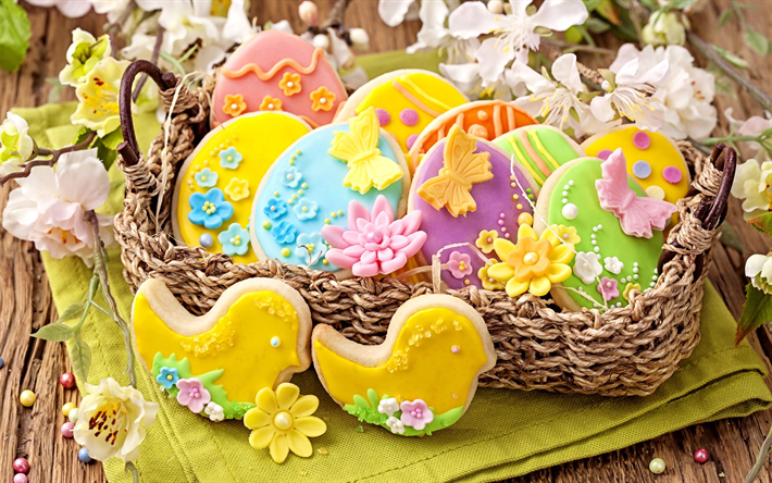 Easter cookies, pastries, spring, Easter, spring flowers, Easter background