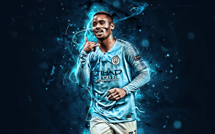 Gabriel Jesus, goal, Manchester City FC, brazilian footballers, soccer, Gabriel Fernando de Jesus, joy, Premier League, Man City, football, neon lights, England