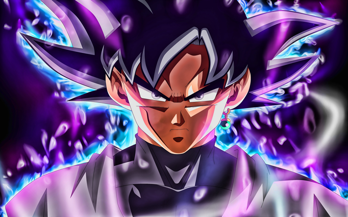 DBS, Ultra Instinct Goku, violet fire, 4k, DBS characters, Dragon Ball Super, DBS 4k, Migatte No Gokui, Mastered Ultra Instinct, Super Saiyan God, Dragon Ball