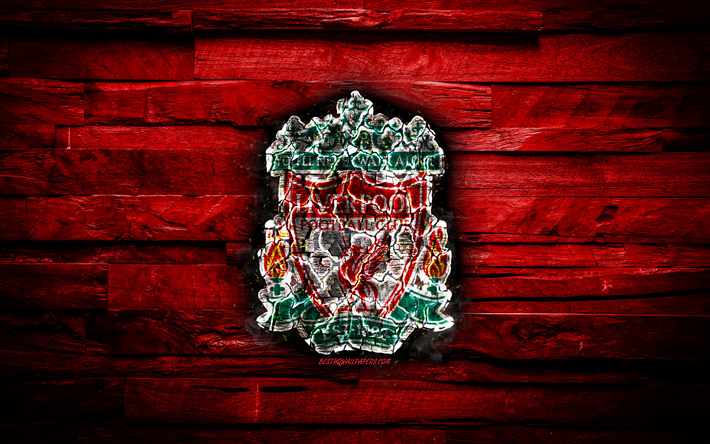 Liverpool FC, fiery logo, red wooden background, Premier League, english football club, FC Liverpool, grunge, football, Liverpool logo, fire texture, England, soccer