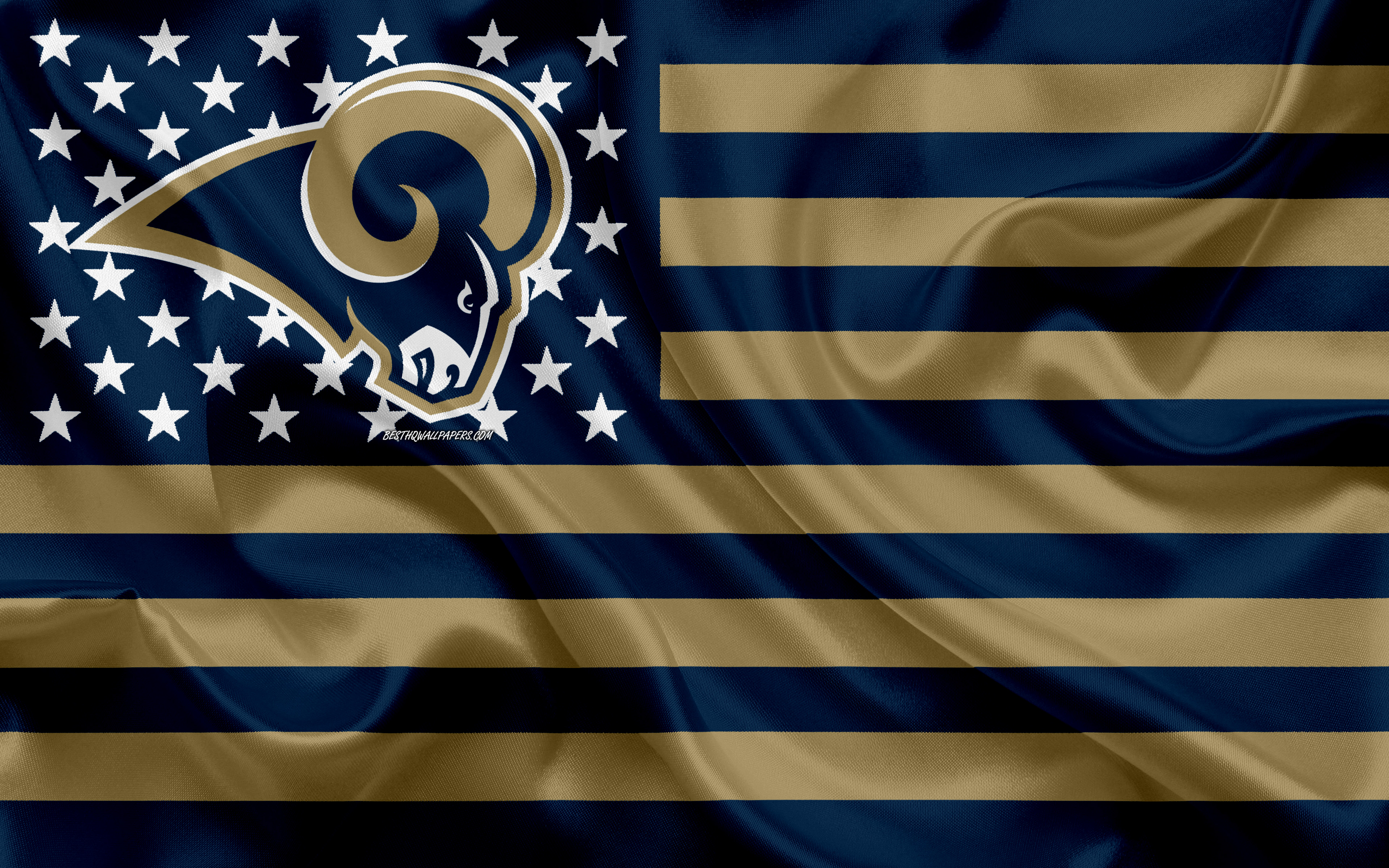 Los Angeles Rams, American football team, creative American flag, blue gold flag, NFL, Los Angeles, California, USA, logo, emblem, silk flag, National Football League, American football