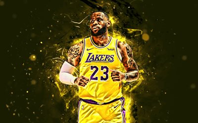 4k, LeBron James, de color amarillo uniforme, de la NBA, Los Lakers de Los Angeles, estrellas del baloncesto, luces de neón, LeBron Raymone James Sr, LA Lakers, el arte abstracto, creativo, baloncesto, LeBron James Lakers