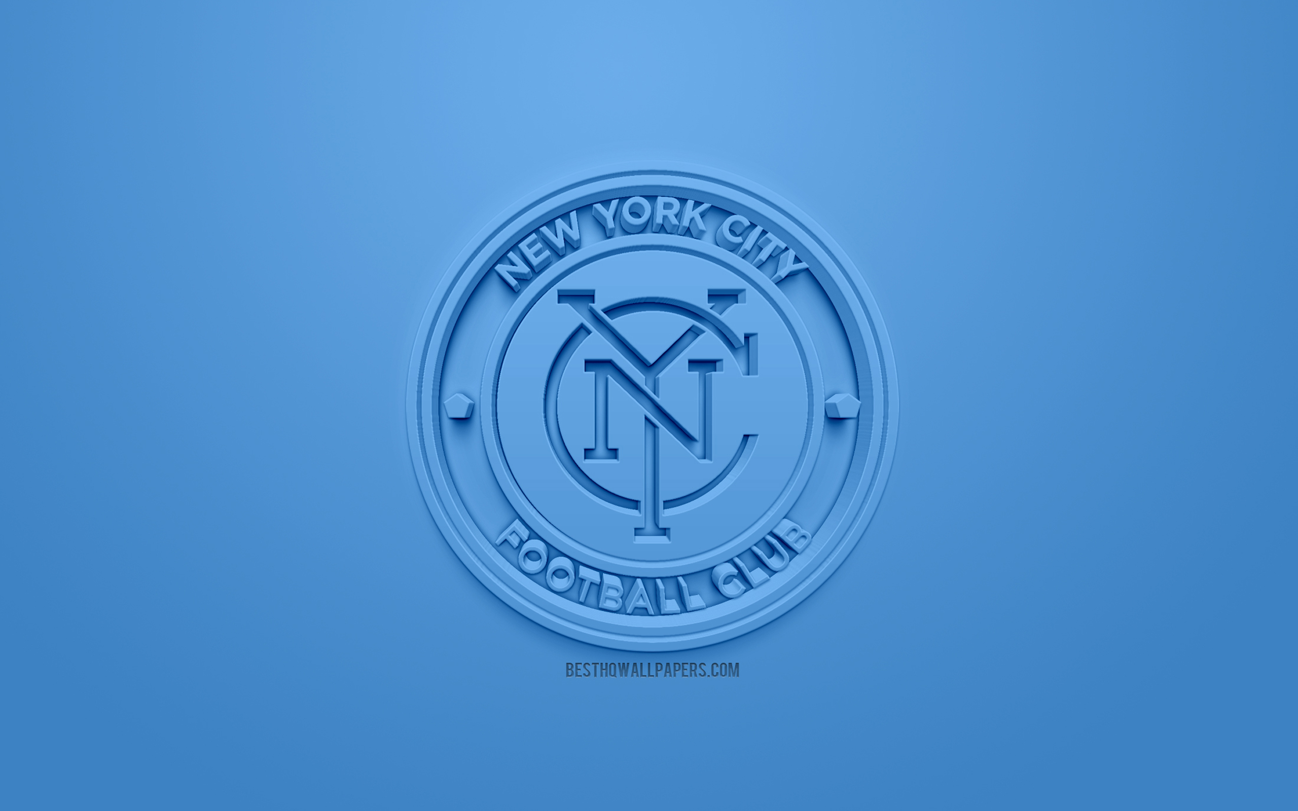 New York City FC, creativo logo 3D, sfondo blu, emblema 3d, club di football Americano, MLS, New York, USA, Major League Soccer, 3d arte, il calcio, il logo 3d, calcio