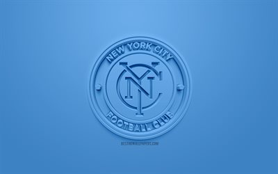 new york city fc, kreative 3d-logo, blauer hintergrund, 3d-emblem, american football club, mls, new york, usa, major league soccer, 3d-kunst, fußball, 3d-logo