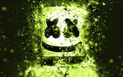 DJ Marshmello, 4k, american DJ, light green neon, Christopher Comstock, Marshmello 4K, artwork, Marshmello DJ, superstars, fan art, Marshmello, DJs