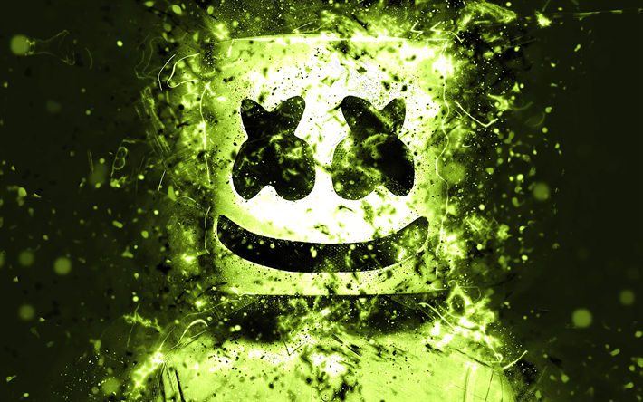 dj marshmello, 4k, american dj, licht, grün, neon, christopher comstock, marshmello 4k, grafik, marshmello dj, superstars, fan-kunst, marshmello, djs