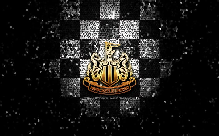 Download Wallpapers Newcastle United Fc Glitter Logo Premier League Black Checkered Background Soccer Fc Newcastle United English Football Club Newcastle United Logo Mosaic Art Football England For Desktop Free Pictures For Desktop