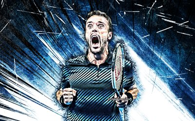 4k, roberto bautista agut, grunge art, atp, spanish tennis players, blue abstract rays, tennis, bautista agut, fan art, roberto bautista agut 4k