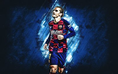 Antoine Griezmann, FC Barcelona, French footballer, blue creative background, Catalan football club, La Liga, Spain, football
