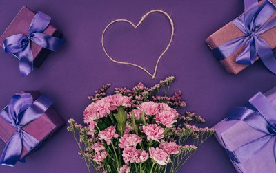 romantic gifts, bouquet of pink flowers, heart, purple silk bows, gifts boxes