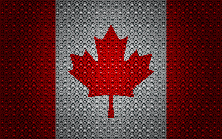 Flag of Canada, 4k, creative art, metal mesh texture, Canadian flag, national symbol, metal flag, Canada, North America, flags of North America countries