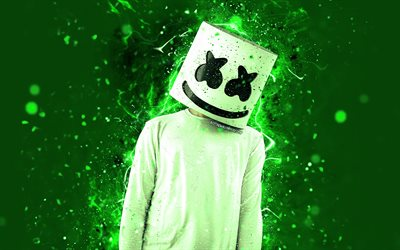 4k, DJ Marshmello, green neon, Christopher Comstock, american DJ, fan art, green background, Marshmello DJ, superstars, creative, Marshmello, DJs