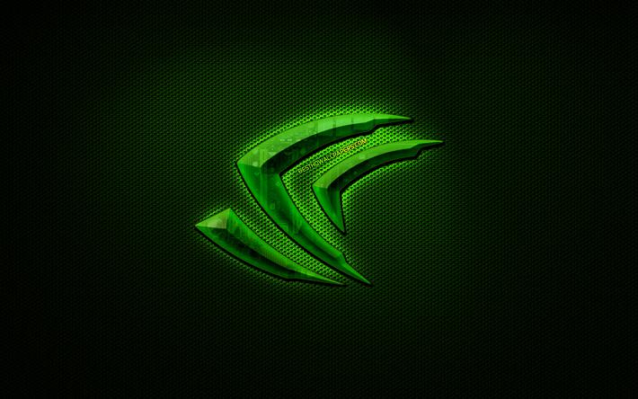 Indir Duvar Kağıdı Nvıdıa Logosu 4k Yeşil Metal Arka Plan