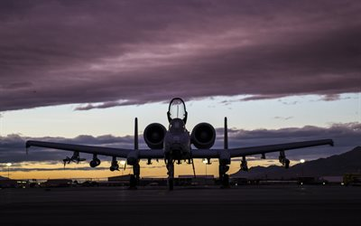 Fairchild-Republic A-10 Thunderbolt II, american attack aircraft, military airfield, evening, sunset, USAF, combat aircraft, USA