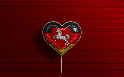 I Love Lower Saxony, 4k, realistic balloons, red wooden background, States of Germany, Lower Saxony flag heart, flag of Lower Saxony, balloon with flag, German states, Love Lower Saxony, Germany