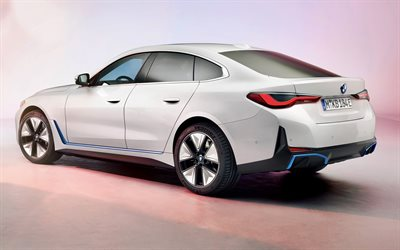 BMW i4, 2022, rear view, exterior, white sedan, new white i4, electric cars, German cars, BMW