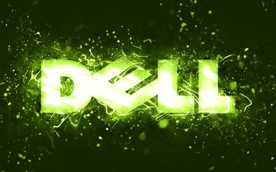 Dell lime logo, 4k, lime neon lights, creative, lime abstract background, Dell logo, brands, Dell