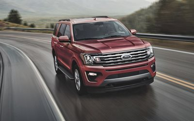 Ford Expedition, 2021, exterior, front view, red SUV, new red Expedition, American cars, Ford