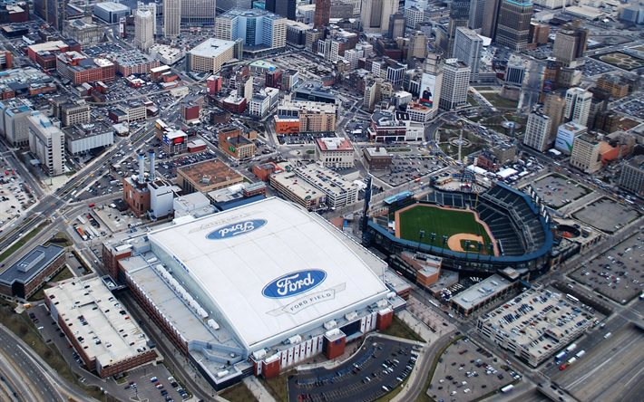Download Wallpapers Ford Field American Football Stadium Nfl Detroit Detroit Lions Stadium National Football League Usa For Desktop Free Pictures For Desktop Free