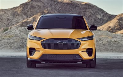 Ford Mustang Mach-E, 2021, front view, exterior, electric SUV, new yellow Mustang Mach-E, electric cars, Ford