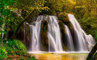 Cascade des Tufs, beautiful waterfall, Cuisance River, forest, waterfalls, France