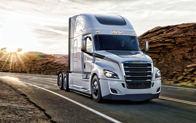 Freightliner Cascadia, 2021, front view, exterior, new white Cascadia, american trucks, Freightliner Trucks