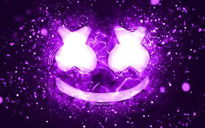 Marshmello violet logo, 4k, Christopher Comstock, violet neon lights, creative, violet abstract background, DJ Marshmello, Marshmello logo, american DJs, Marshmello
